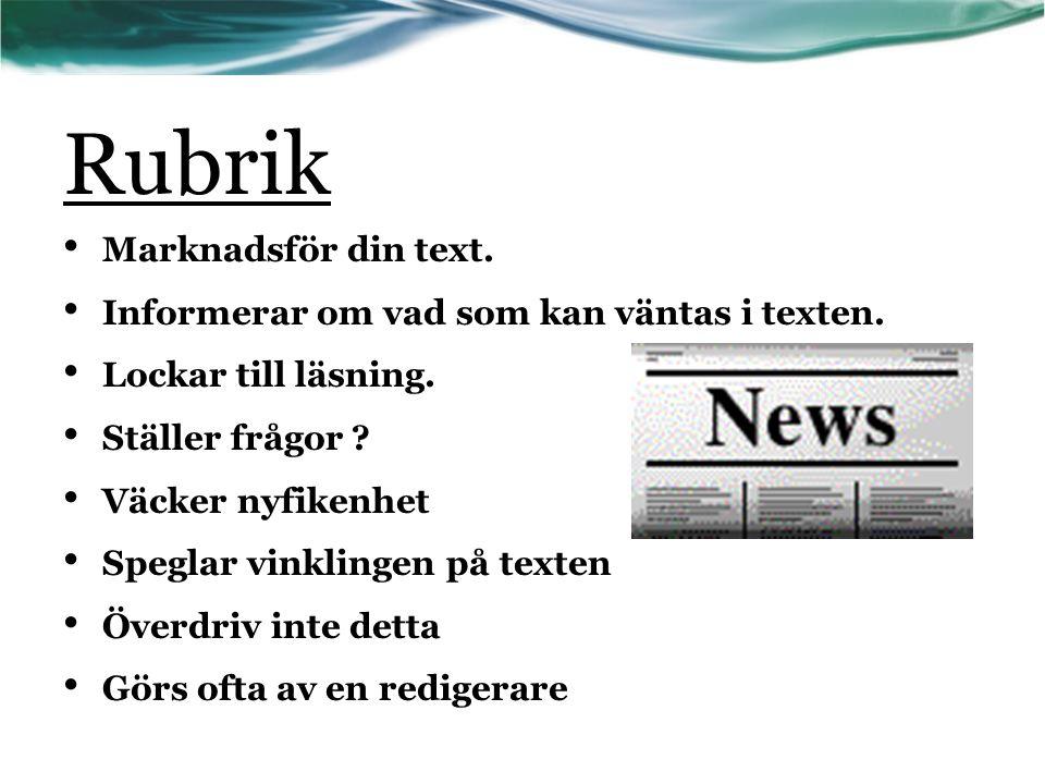 Rubrik Marknadsför din text.