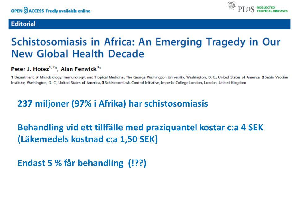 237 miljoner (97% i Afrika) har schistosomiasis