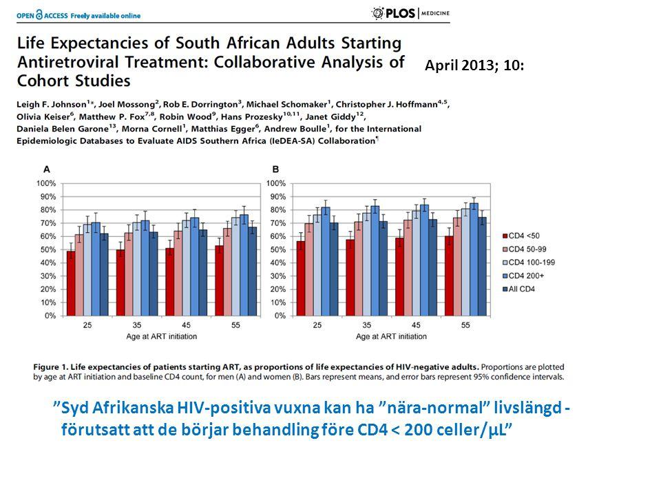 Syd Afrikanska HIV-positiva vuxna kan ha nära-normal livslängd -