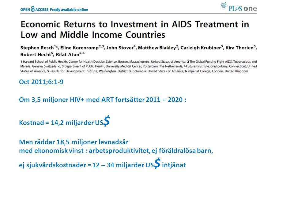 Oct 2011;6:1-9 Om 3,5 miljoner HIV+ med ART fortsätter 2011 – 2020 : Kostnad = 14,2 miljarder US$ Men räddar 18,5 miljoner levnadsår.