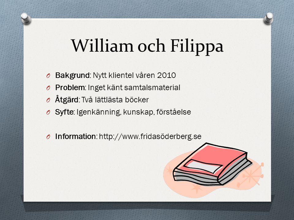 William och Filippa Bakgrund: Nytt klientel våren 2010