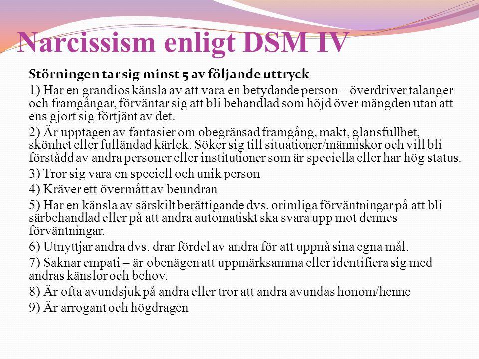 Narcissism enligt DSM IV