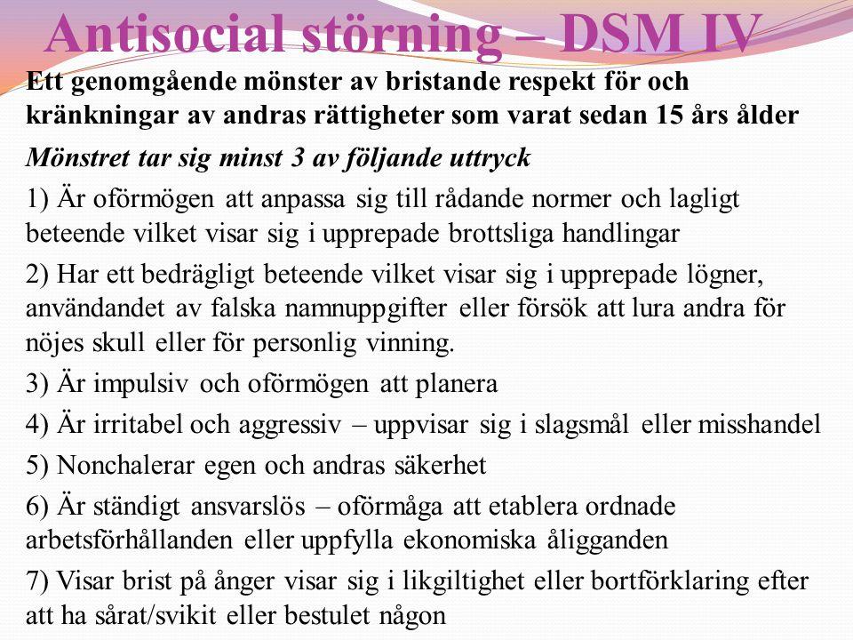Antisocial störning – DSM IV