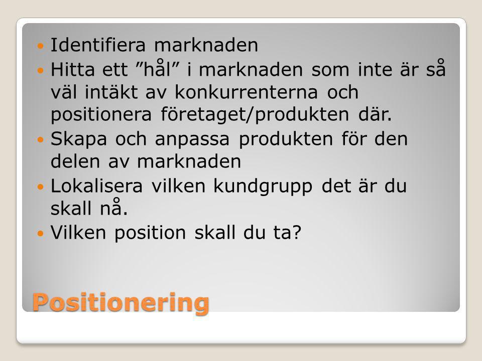 Positionering Identifiera marknaden