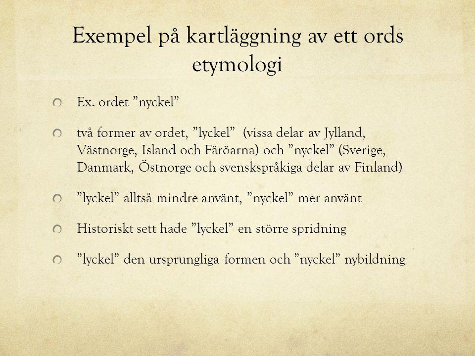 Exempel på kartläggning av ett ords etymologi