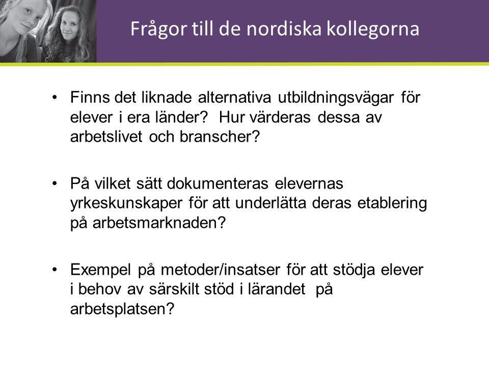 Frågor till de nordiska kollegorna