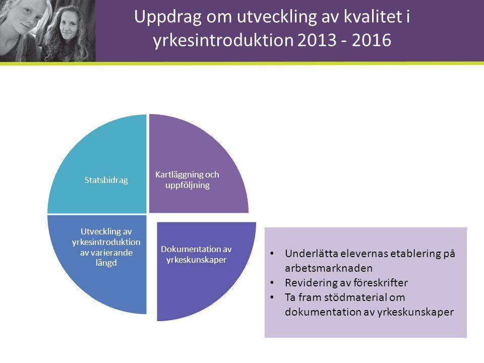 Uppdrag om utveckling av kvalitet i yrkesintroduktion 2013 - 2016