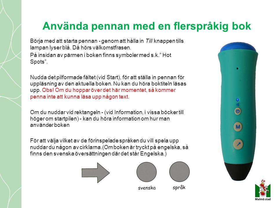 Använda pennan med en flerspråkig bok