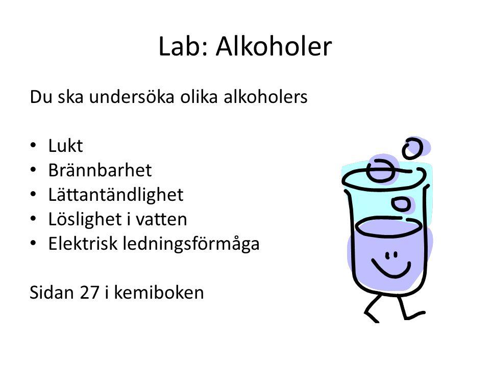 Lab: Alkoholer Du ska undersöka olika alkoholers Lukt Brännbarhet