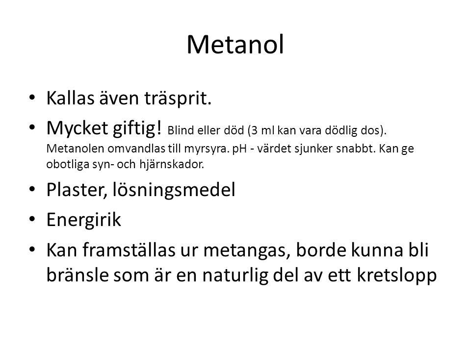 Metanol Kallas även träsprit.