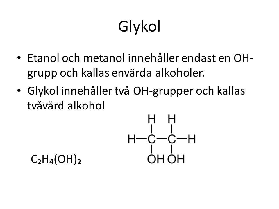 Glykol Etanol och metanol innehåller endast en OH-grupp och kallas envärda alkoholer. Glykol innehåller två OH-grupper och kallas tvåvärd alkohol.