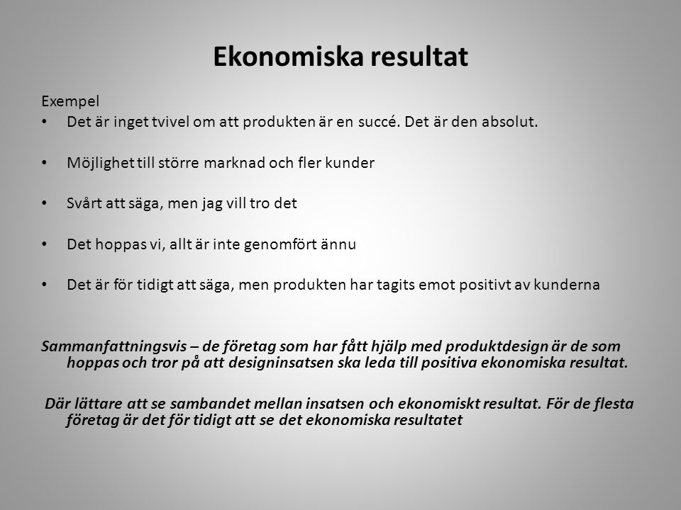 Ekonomiska resultat Exempel