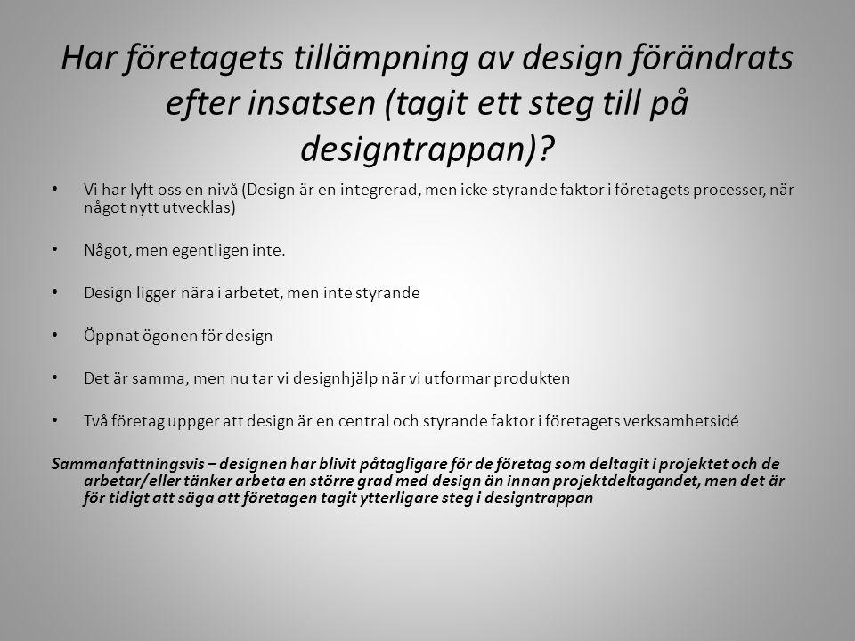 Designtrappan Har företagets tillämpning av design förändrats efter insatsen (tagit ett steg till på designtrappan)