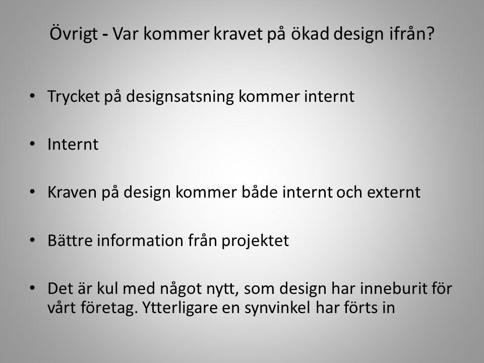 Övrigt - Var kommer kravet på ökad design ifrån