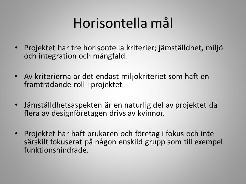 Horisontella mål Projektet har tre horisontella kriterier; jämställdhet, miljö och integration och mångfald.