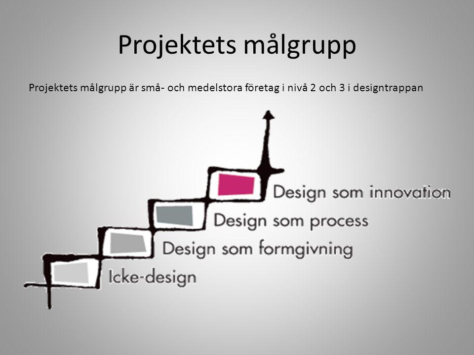 Projektets målgrupp Projektets målgrupp är små- och medelstora företag i nivå 2 och 3 i designtrappan.