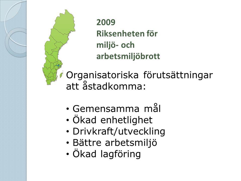 2009 Riksenheten för miljö- och arbetsmiljöbrott. Organisatoriska förutsättningar att åstadkomma: Gemensamma mål.