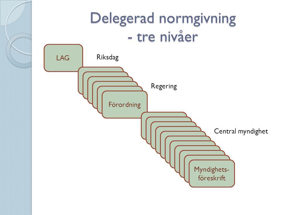 Delegerad normgivning - tre nivåer