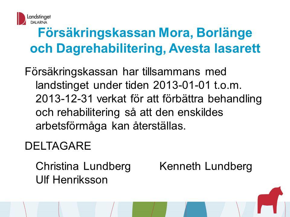 Försäkringskassan Mora, Borlänge och Dagrehabilitering, Avesta lasarett