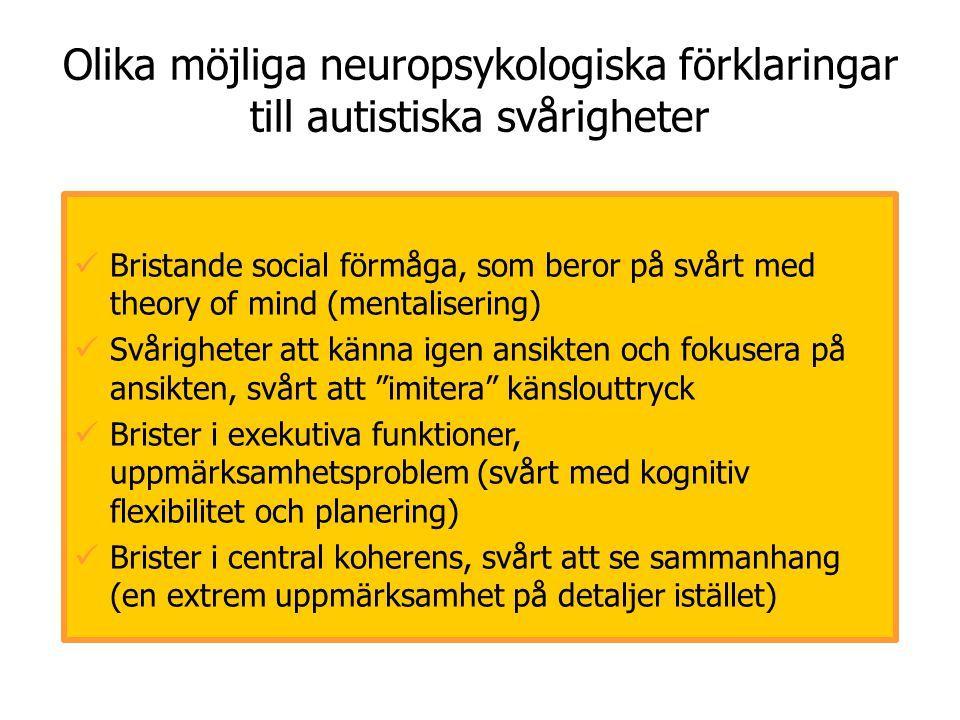 Olika möjliga neuropsykologiska förklaringar till autistiska svårigheter