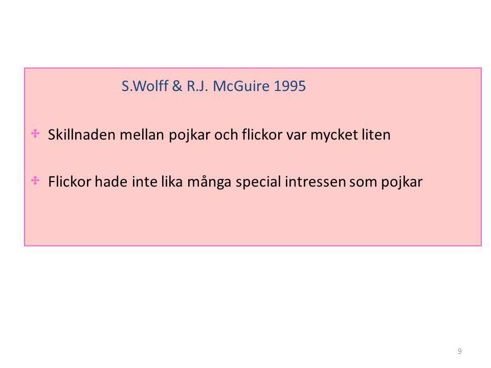 S.Wolff & R.J. McGuire 1995 Skillnaden mellan pojkar och flickor var mycket liten. Flickor hade inte lika många special intressen som pojkar.