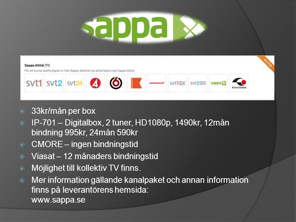 33kr/mån per box IP-701 – Digitalbox, 2 tuner, HD1080p, 1490kr, 12mån bindning 995kr, 24mån 590kr. CMORE – ingen bindningstid.