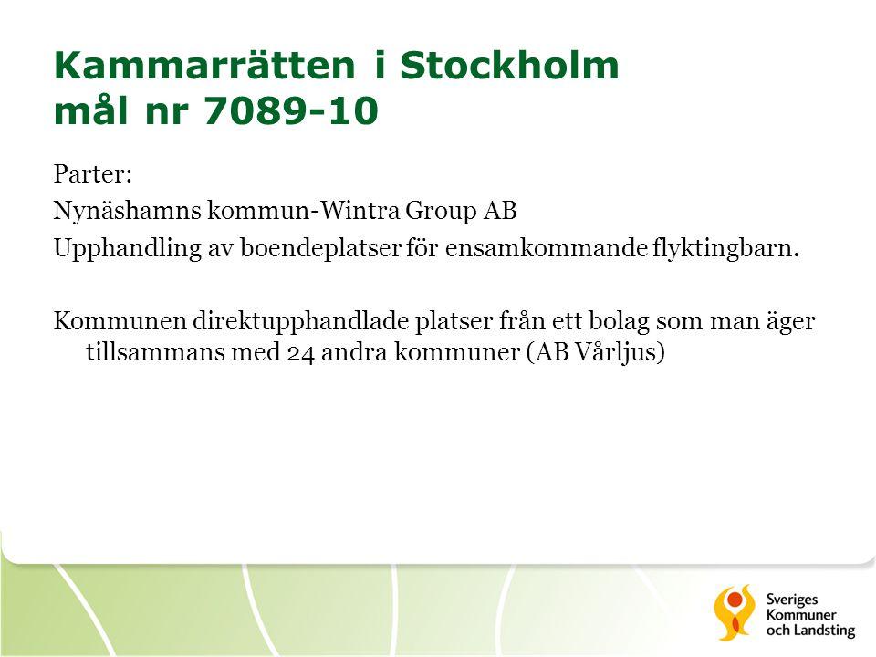 Kammarrätten i Stockholm mål nr 7089-10
