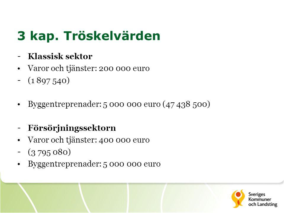 3 kap. Tröskelvärden Klassisk sektor Varor och tjänster: 200 000 euro