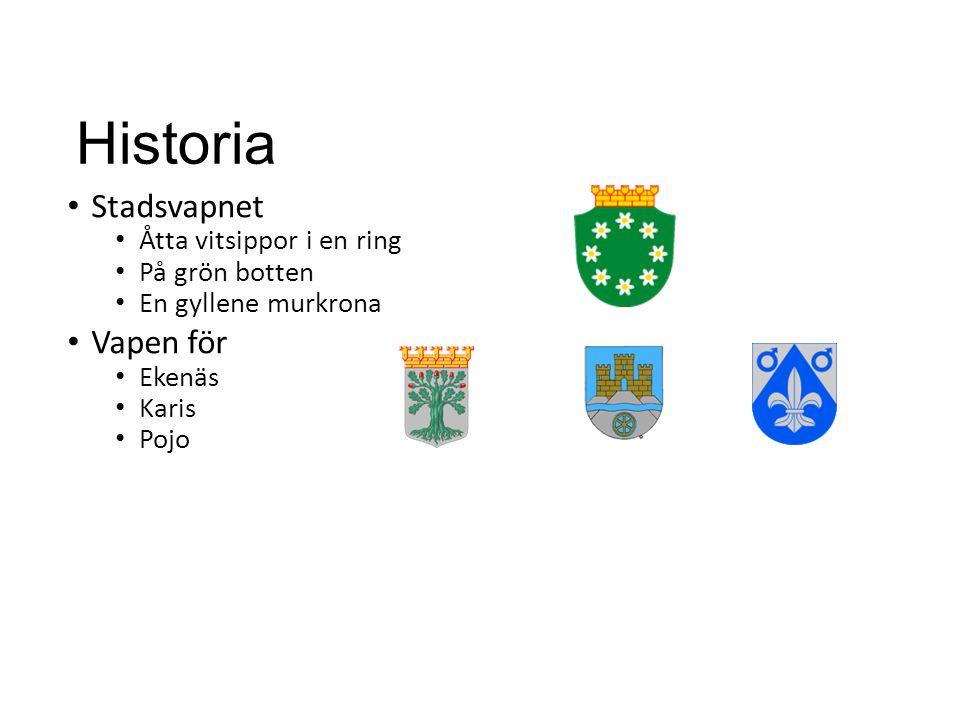 Historia Stadsvapnet Vapen för Åtta vitsippor i en ring På grön botten