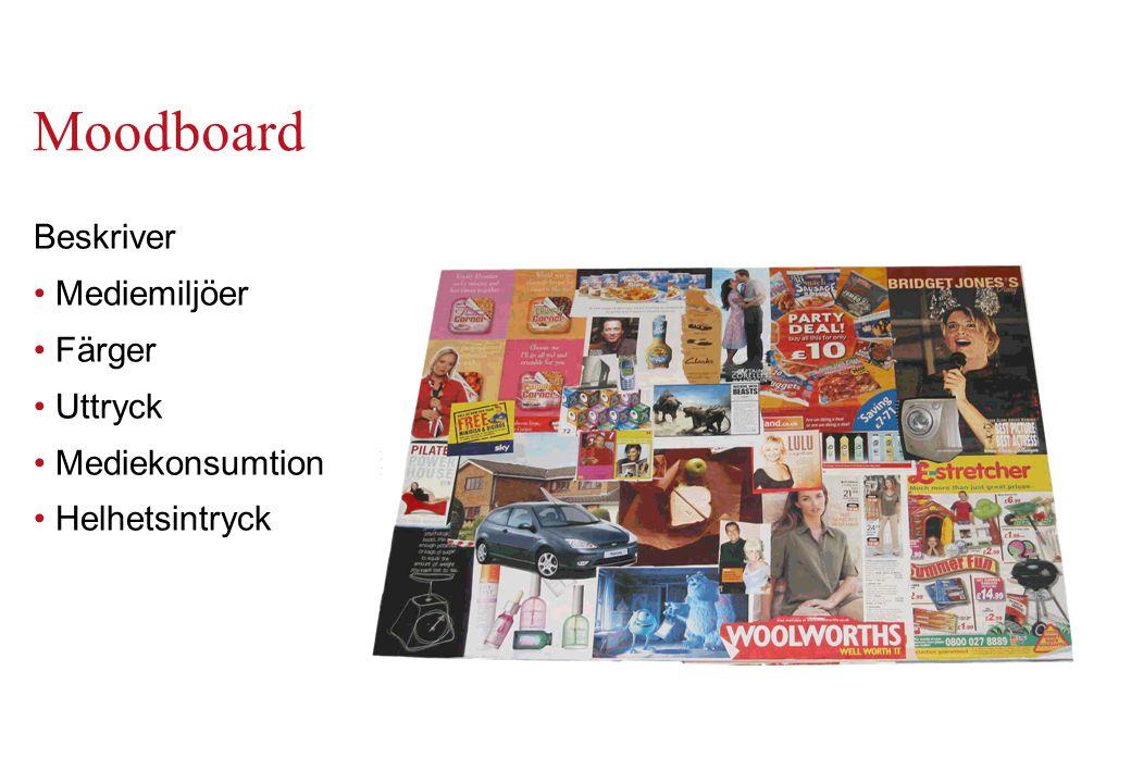 Moodboard Beskriver Mediemiljöer Färger Uttryck Mediekonsumtion