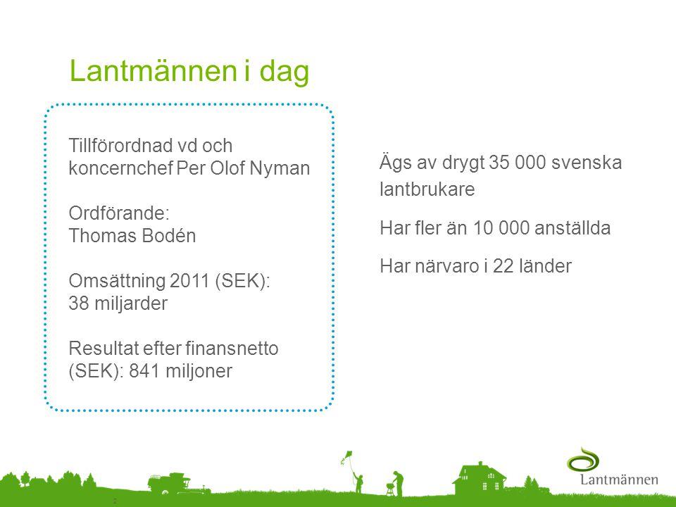 Lantmännen i dag Tillförordnad vd och koncernchef Per Olof Nyman