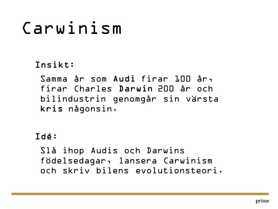 Carwinism Insikt: Samma år som Audi firar 100 år, firar Charles Darwin 200 år och bilindustrin genomgår sin värsta kris någonsin.