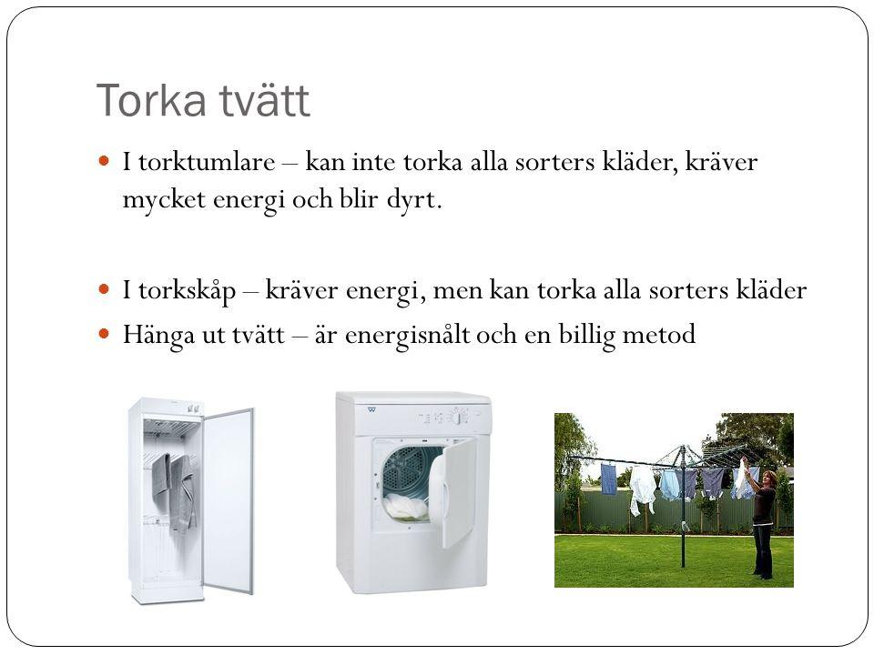 Torka tvätt I torktumlare – kan inte torka alla sorters kläder, kräver mycket energi och blir dyrt.