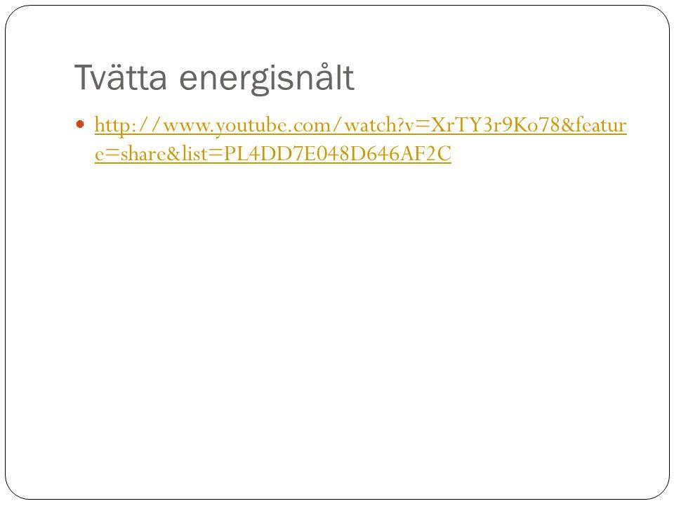 Tvätta energisnålt http://www.youtube.com/watch v=XrTY3r9Ko78&featur e=share&list=PL4DD7E048D646AF2C.