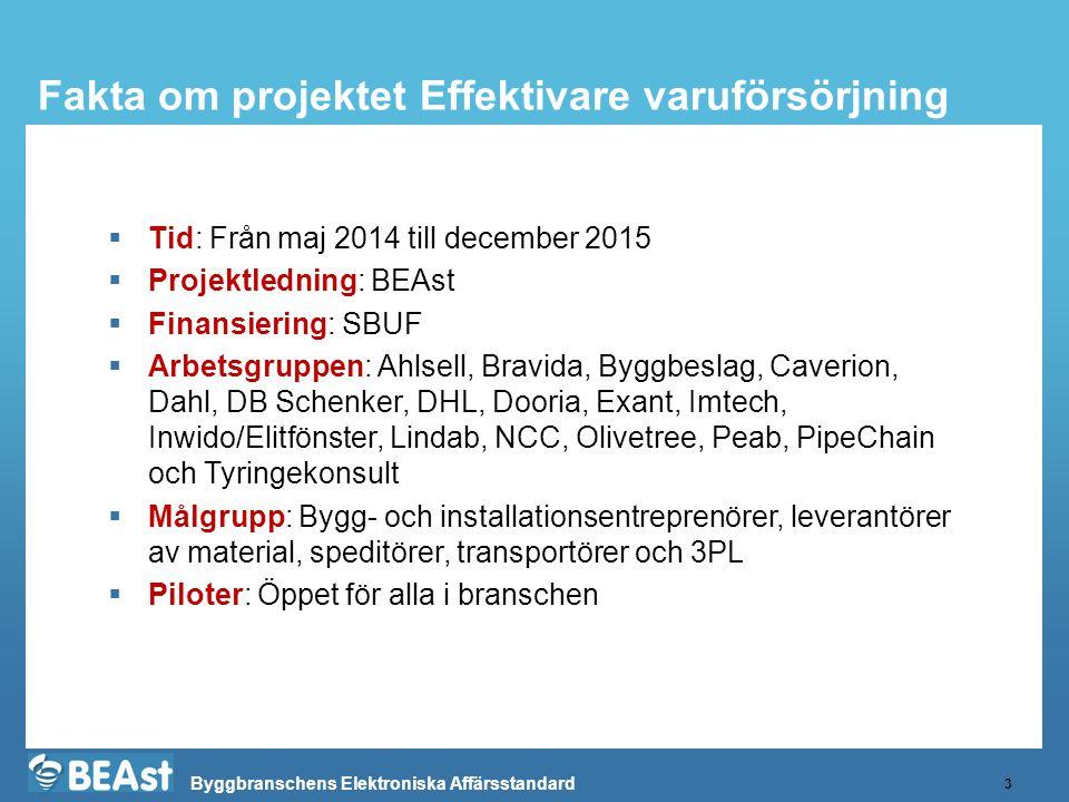 Fakta om projektet Effektivare varuförsörjning