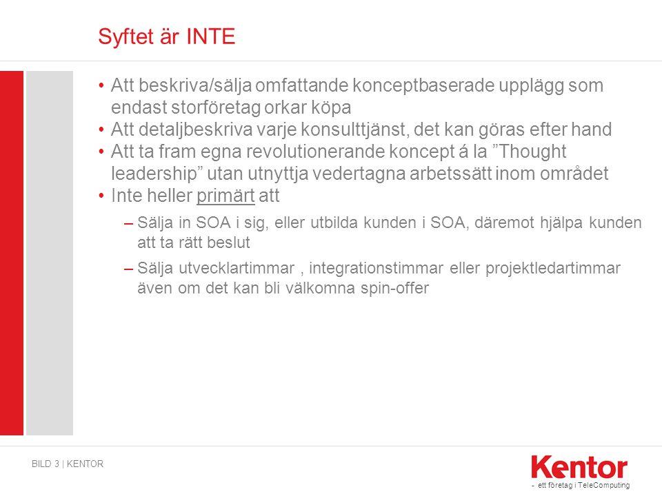 Syftet är INTE Att beskriva/sälja omfattande konceptbaserade upplägg som endast storföretag orkar köpa.