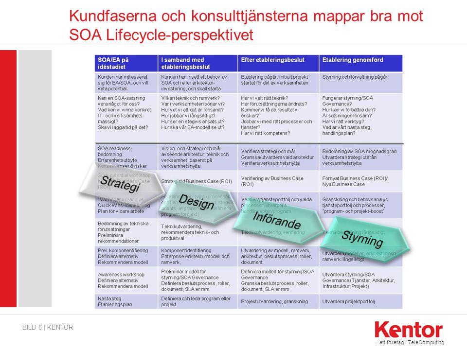 Kundfaserna och konsulttjänsterna mappar bra mot SOA Lifecycle-perspektivet