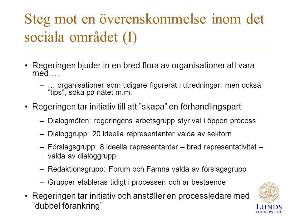 Steg mot en överenskommelse inom det sociala området (I)