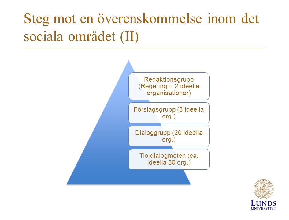 Steg mot en överenskommelse inom det sociala området (II)