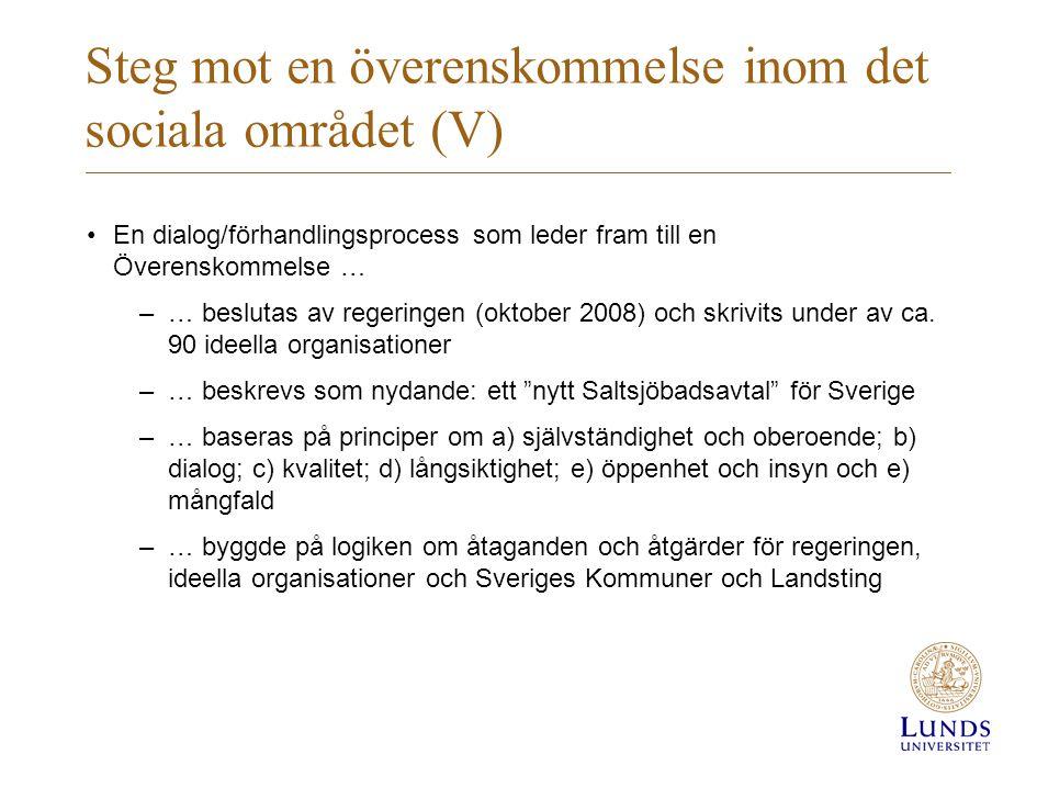 Steg mot en överenskommelse inom det sociala området (V)