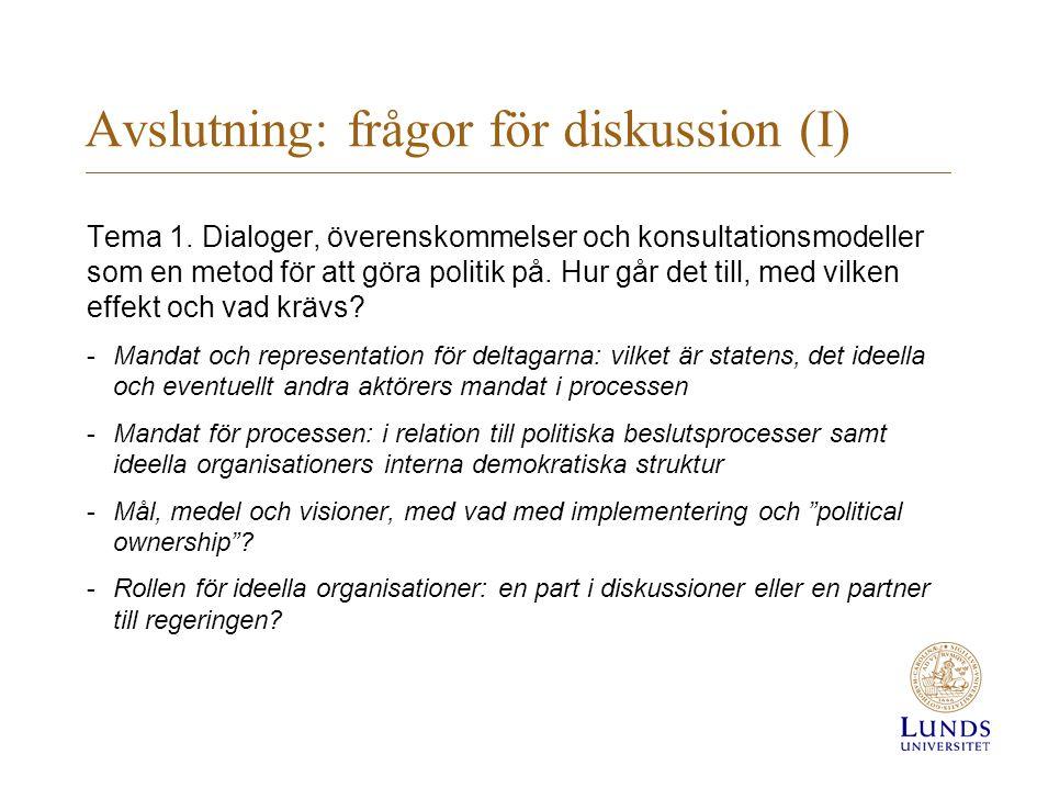 Avslutning: frågor för diskussion (I)