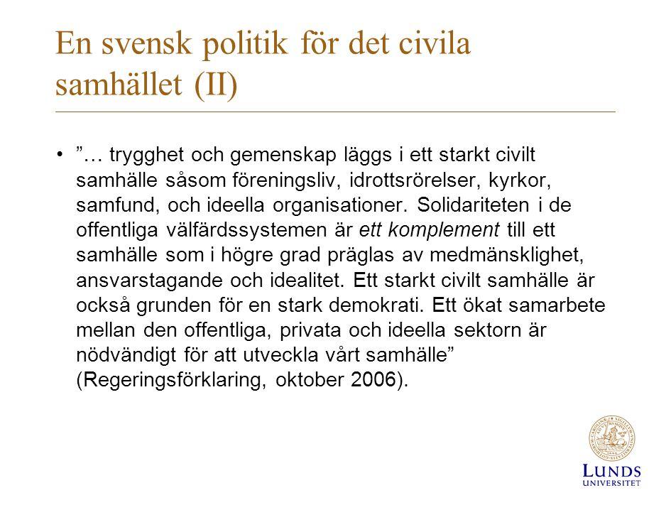En svensk politik för det civila samhället (II)