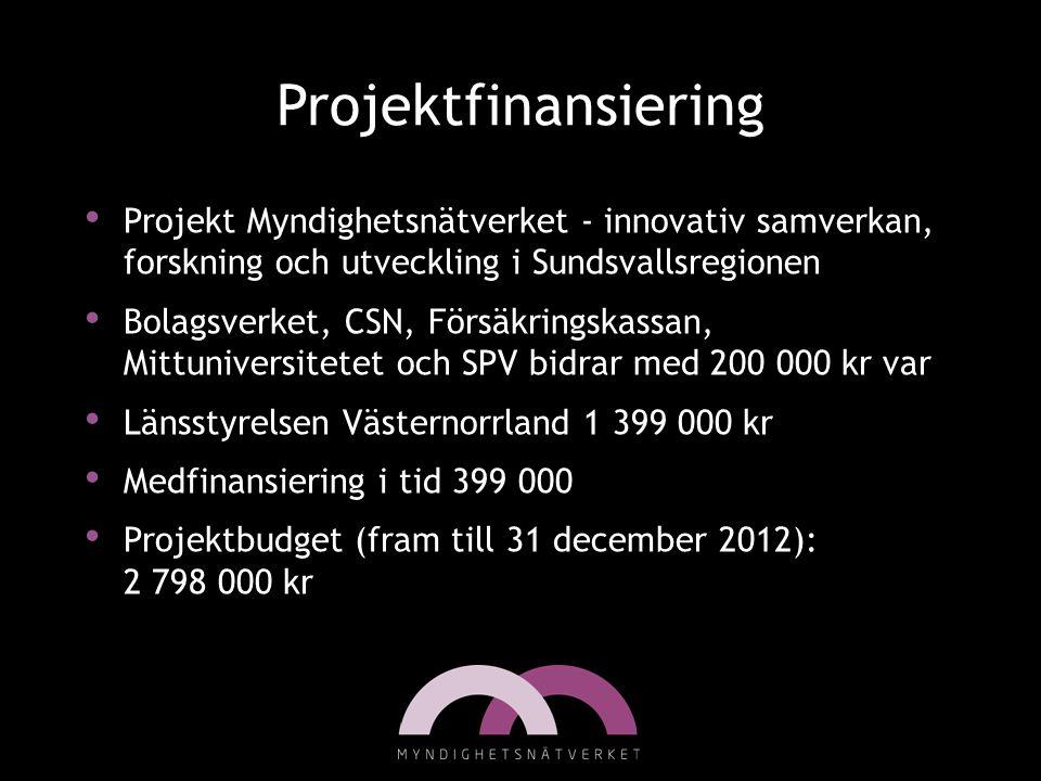Projektfinansiering Projekt Myndighetsnätverket - innovativ samverkan, forskning och utveckling i Sundsvallsregionen.