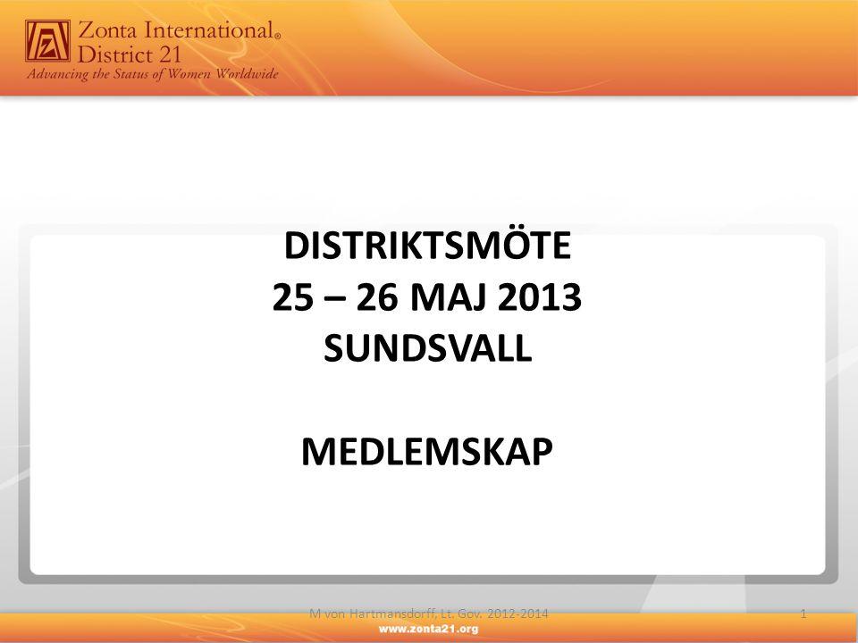 DISTRIKTSMÖTE 25 – 26 MAJ 2013 sundsvall MEDLEMSKAP
