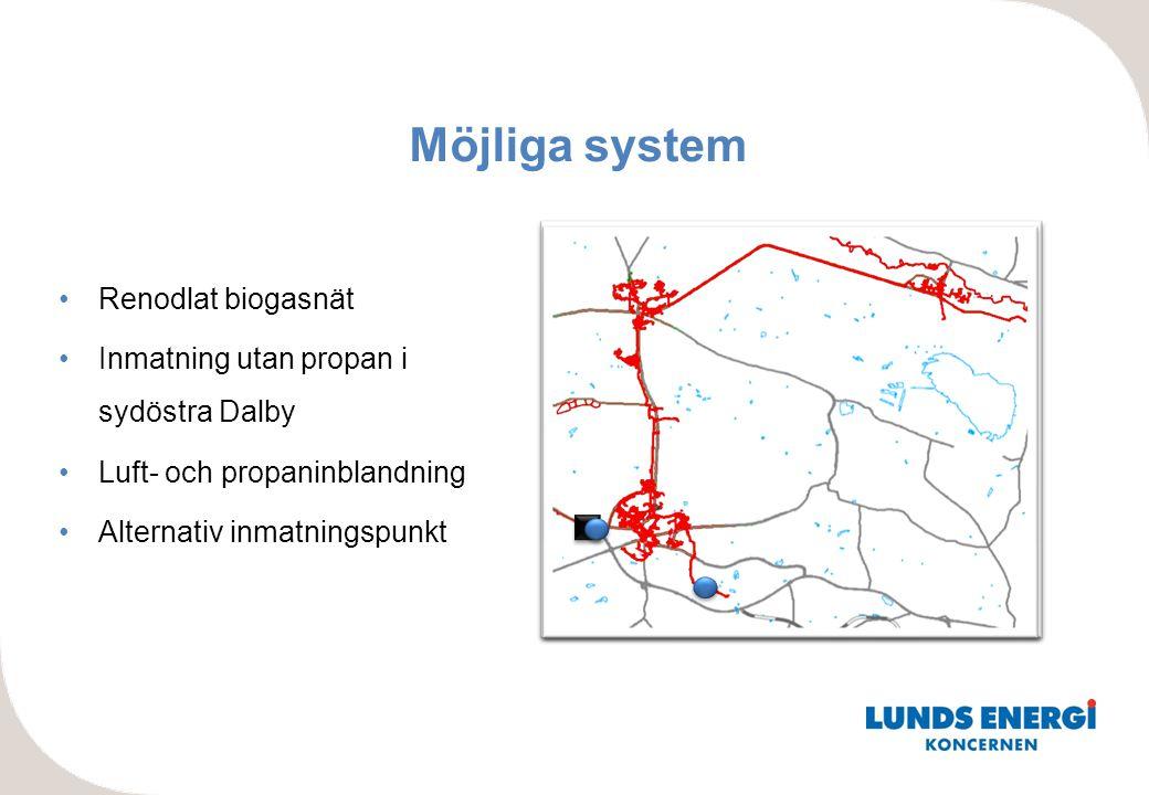 Möjliga system Renodlat biogasnät