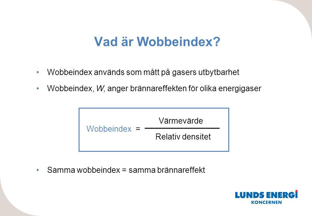 Vad är Wobbeindex Wobbeindex används som mått på gasers utbytbarhet