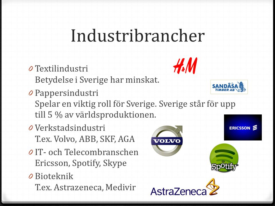 Industribrancher Textilindustri Betydelse i Sverige har minskat.