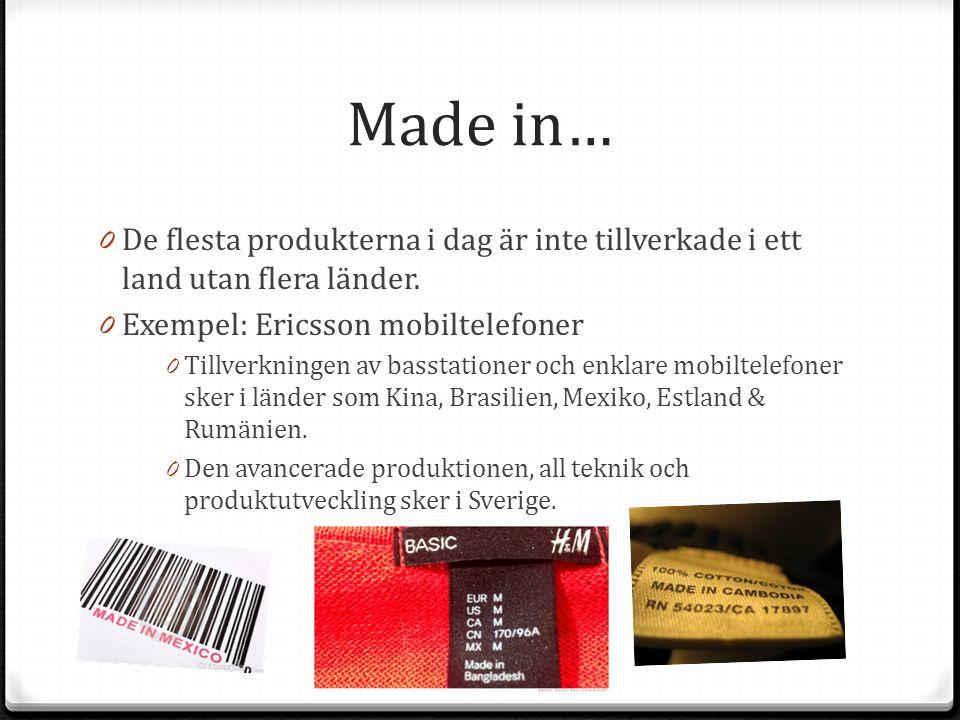 Made in… De flesta produkterna i dag är inte tillverkade i ett land utan flera länder. Exempel: Ericsson mobiltelefoner.