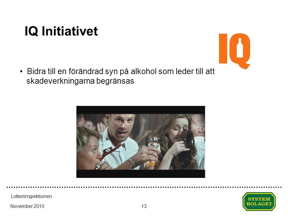 Datum (visa; sidh...) IQ Initiativet. Bidra till en förändrad syn på alkohol som leder till att skadeverkningarna begränsas.