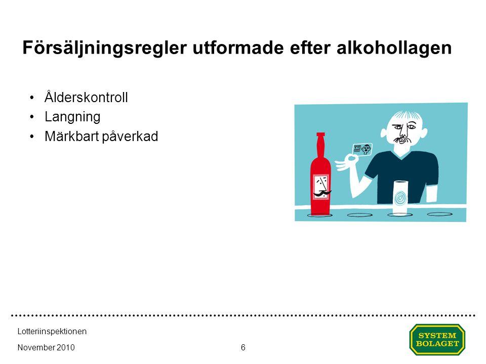 Försäljningsregler utformade efter alkohollagen